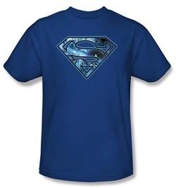 Superman T-shirt On Ice Shield Logo Adult Royal Blue Tee Shirt