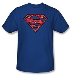 Superman T-shirt Paisley Shield Logo Adult Royal Blue Tee Shirt
