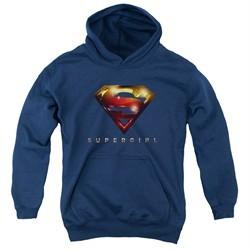 Supergirl Kids Hoodie Logo Glare Navy Blue Youth Hoody
