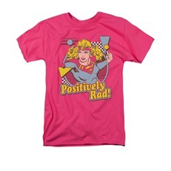 Supergirl Shirt Positively Rad Adult Hot Pink Tee T-Shirt