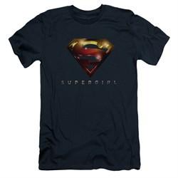 Supergirl Slim Fit Shirt Logo Glare Navy Blue T-Shirt
