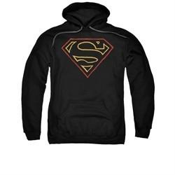 Superman Hoodie Colored Shield Black Sweatshirt Hoody