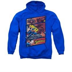 Superman Hoodie Comic Strip Royal Blue Sweatshirt Hoody