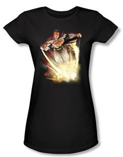 Superman Juniors Shirt DC Comics Final Crisis Explosive Black T-Shirt