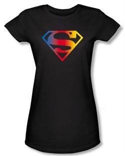 Superman Juniors Shirt DC Comics Gradient Shield Logo Black T-Shirt