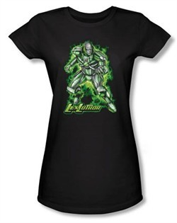 Superman Juniors Shirt DC Comics Kryptonite Lux Luther Black T-Shirt
