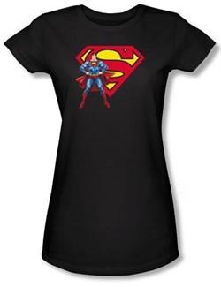 Superman Juniors T-shirt DC Comics Logo Shield Black Tee Shirt