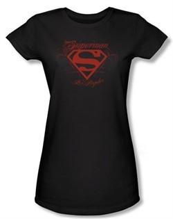 Superman Juniors T-shirt DC Comics Los Angeles Shield Black Tee Shirt