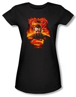 Superman Juniors T-shirt DC Comics Man On Fire Black Tee Shirt