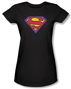 Superman Juniors T-shirt DC Comics Neon Distress Logo Black Tee Shirt