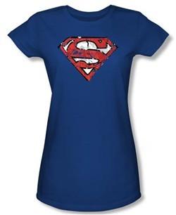 Superman Juniors Shirt Ripped And Shredded Shield Royal Blue T-Shirt
