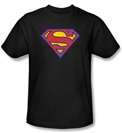 Superman Kids T-shirt DC Comics Neon Distress Logo Black Shirt Youth