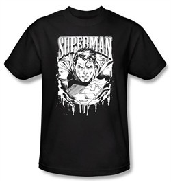 Superman Kids T-shirt DC Comics Super Metal  Black Tee Youth