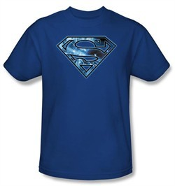 Superman Kids T-shirt On Ice Shield Logo Royal Blue Tee Shirt Youth