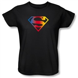 Superman Ladies T-shirt DC Comics Gradient Shield Logo Black Tee Shirt