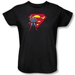 Superman Ladies T-shirt DC Comics Logo Shield Black Tee Shirt