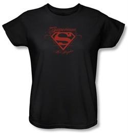 Superman Ladies T-shirt DC Comics Los Angeles Shield Black Tee Shirt