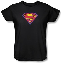 Superman Ladies T-shirt DC Comics Neon Distress Logo Black Tee Shirt