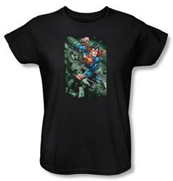 Superman Ladies T-shirt DC Comics Superhero Indestructible Black Tee