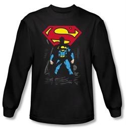 Superman Long Sleeve T-shirt DC Comics Dark Alley Logo Black Tee Shirt