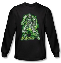 Superman Long Sleeve Shirt DC Comics Kryptonite Lux Luther Black Shirt