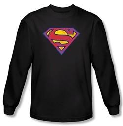 Superman Long Sleeve T-shirt DC Comics Neon Distress Logo Black Shirt