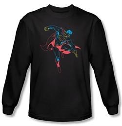 Superman Long Sleeve T-shirt DC Comics Neon Superhero Black Tee Shirt