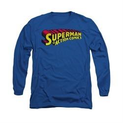 Superman Shirt Action Comics Long Sleeve Royal Tee T-Shirt