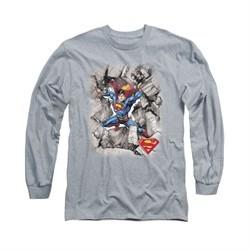 Superman Shirt Break Through Long Sleeve Athletic Heather Tee T-Shirt