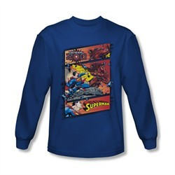 Superman Shirt Comic Strip Long Sleeve Royal Blue Tee T-Shirt