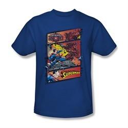 Superman Shirt Comic Strip Royal Blue T-Shirt
