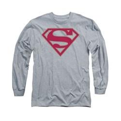 Superman Shirt Crimson Shield Long Sleeve Athletic Heather Tee T-Shirt