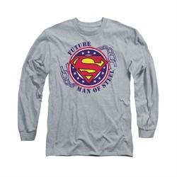 Superman Shirt Future Man Of Steel Long Sleeve Athletic Heather Tee T-Shirt