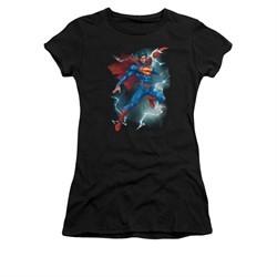 Superman Shirt Juniors Lightning Black T-Shirt