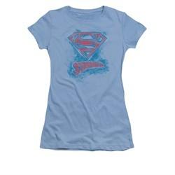 Superman Shirt Juniors Sketchy Carolina Blue T-Shirt