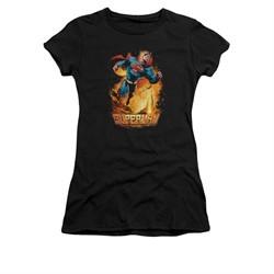 Superman Shirt Juniors Space Case Black T-Shirt