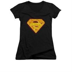Superman Shirt Juniors V Neck Hot Steel Shield Black T-Shirt