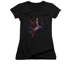 Superman Shirt Juniors V Neck Shadows Black T-Shirt