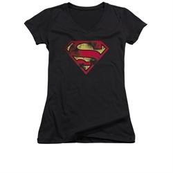 Superman Shirt Juniors V Neck War Torn Shield Black T-Shirt