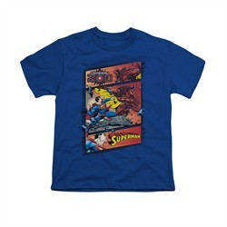Superman Shirt Kids Comic Strip Royal Blue T-Shirt