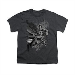 Superman Shirt Kids Fight And Flight Charcoal T-Shirt