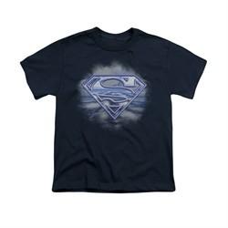 Superman Shirt Kids Flying Shield Navy T-Shirt