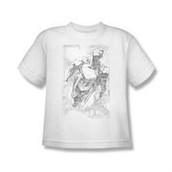 Superman Shirt Kids Flying Sketch White T-Shirt