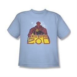 Superman Shirt Kids Kneel Before Light Blue T-Shirt