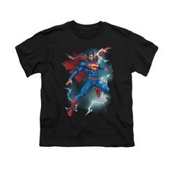 Superman Shirt Kids Lightning Black T-Shirt