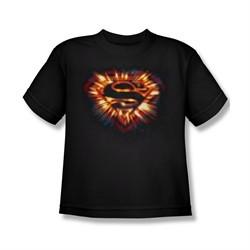 Superman Shirt Kids Space Burst Shield Black T-Shirt