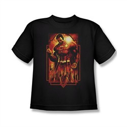 Superman Shirt Kids Standing Over Black T-Shirt