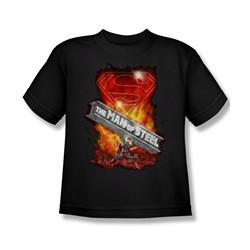 Superman Shirt Kids Steel Girder Black T-Shirt