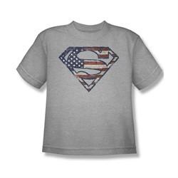 Superman Shirt Kids Wartorn Flag Shield Athletic Heather T-Shirt