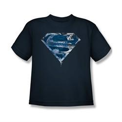 Superman Shirt Kids Water Shield Navy T-Shirt